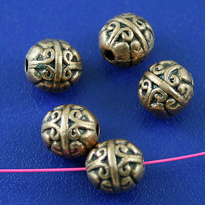 40pcs copper-tone round spacer beads h2232
