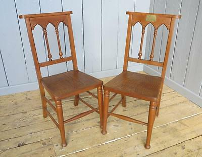 Pair of Oak Gothic Chairs - Kitchen Dining Chapel Church Chair