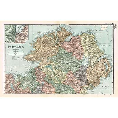IRELAND (North) with inset of Belfast Lough - Antique Map 1894 by Bacon