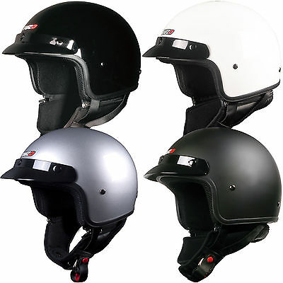 Tuzo Highway Open Face Motorcycle Crash Helmet Black White Matt Black Silver