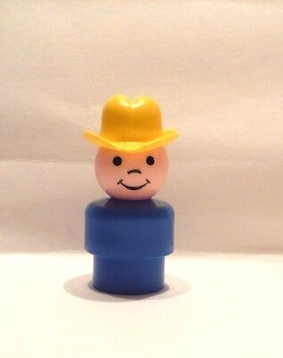 Vintage Fisher Price Little People Man With Yellow Hat Cowboy Ex. Cond
