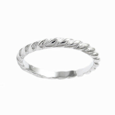 925 Sterling Silver Baby/Child Twist Rope Band Ring Size 1 or 2