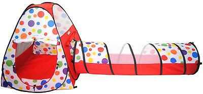 Polka Dot Teepee Pop Up Children's Play Tents Kids Safety Meshing & Tunnel 432