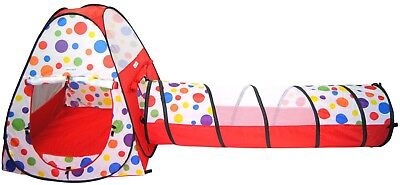 Polka Dot Teepee Pop Up Children's Play Twist Tents Kids Safety Meshing & Tunnel