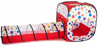 Rectangle Polka Dot Play Twist Tent and Tunnel Kids Indoor Ball Pit Play House