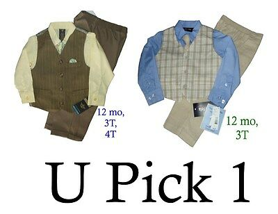 DRESS UP OUTFIT 4 PC SUIT CHURCH WEDDING SUMMER COLORS TODDLER BOYS LITTLE piece