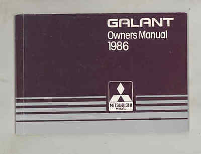 1986 Mitsubishi Galant ORIGINAL Owner's Manual fo1295