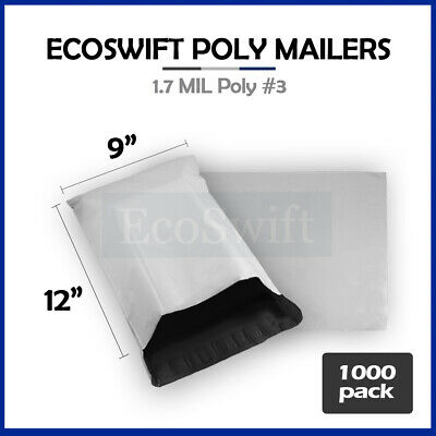 1000 9x12 White Poly Mailers Shipping Envelopes Self Sealing Bags 1.7 MIL 9 x 12