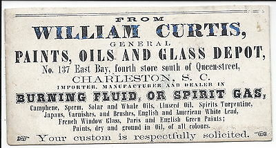 Early c1860 Trade Card, William Curtis, Paint, Oil & Glass Depot, Charleston, SC