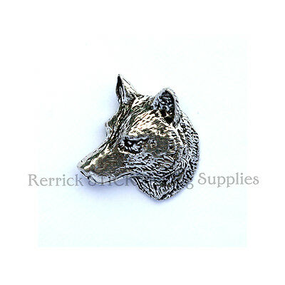 One Pewter Badge For Walking Stick Making Wolfs Head