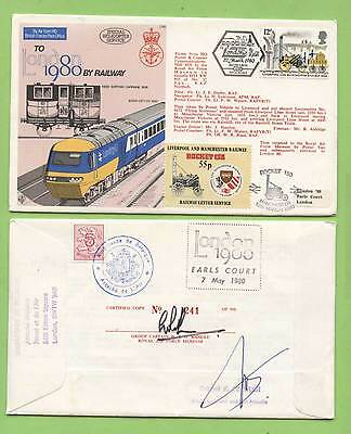 G.B. 1980 London 80' by Railway RAF Flown, signed & certified Cover, C 68