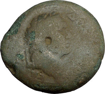 DOMITIAN Pos.Unpublished Countermark Ancient Roman Coin Thessalonica Nike i38550