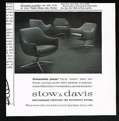 1964 Norway Bubble Chairs Furniture Stow & Davis Print Ad