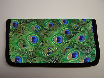 Peacock Feathers  Image Neoprene Fabric  Checkbook Cover