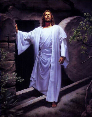 Beautiful oil painting Christ Jesus - Resurrection of Christ at night canvas