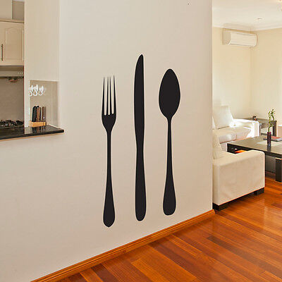 GIANT KNIFE AND FORK KITCHEN WALL ART STICKER DECAL CUTLERY CAFE kfs1