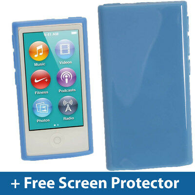 Blue Glossy TPU Gel Case for New Apple iPod Nano 7th Generation 7G Cover Shell