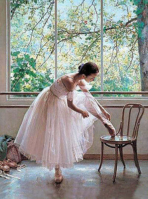Oil painting beautiful young ballet girl in white dress Before the performance