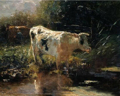 Art oil painting Pieter Isaaczs Rancher with cows by pond in sunset landscape