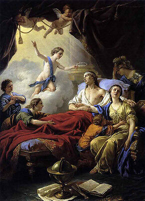 Excellent artwork Oil painting Allegory on the Death of the Dauphin with angels