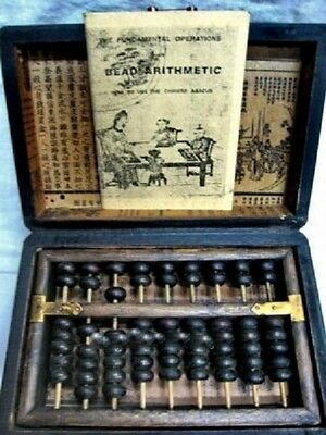 Chinese old computingi abacus with dragon phoenix wooden box