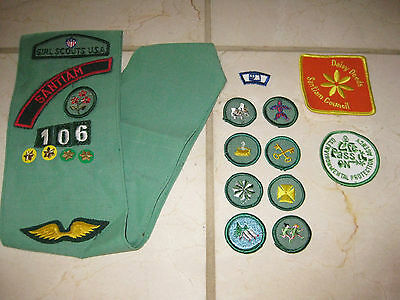 Vintage Girl Scout Sash with 16 Patches - GS USA Sash w Patch Merit Badges