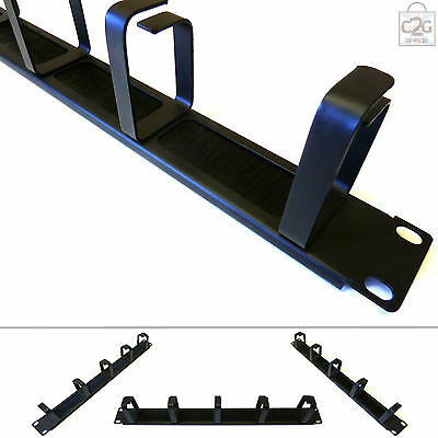"1U 19"" Brush Panel & Ring Cable Tidy Bar for Data Network Lan Rack Mount Cabinet"