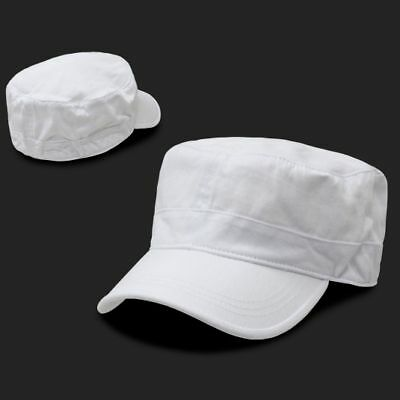 White Military Cadet Flat Top Flex Baseball Cap Caps Hat Hats One Size Fits Most