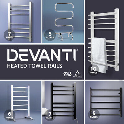 NEW Stainless Steel Electric Heated Towel Rail Rack Warm Shower Bathroom Toilet