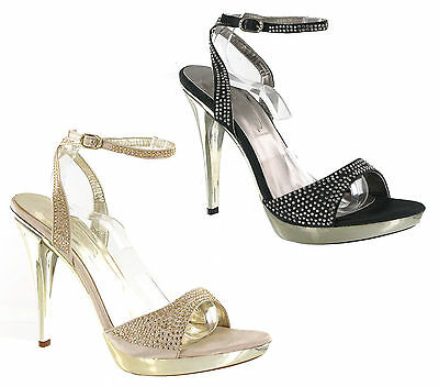 Womens High Stiletto Heels Ladies Platform Party Diamante Strappy Shoes UK 3-8