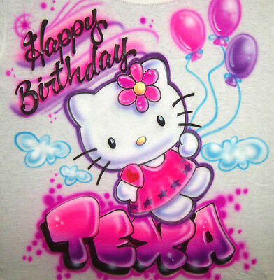 Personalized Hello Kitty Happy Birthday Airbrush T Shirt With Any Name Or Colors