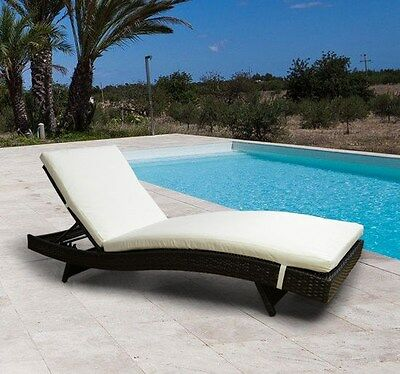 Outdoor New Adjustable Brown Rattan Wicker Chaise Lounge Chair Patio Sofa Couch