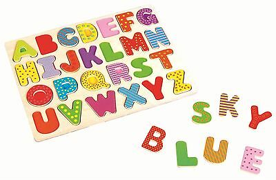 Lelin Children Kids Wooden Uppercase Alphabet Learning Letters Puzzle Board