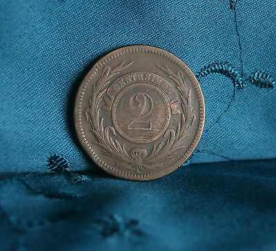 1869 A Uruguay 2 Centesimos Bronze World Coin KM12 South America Sun Face Nice