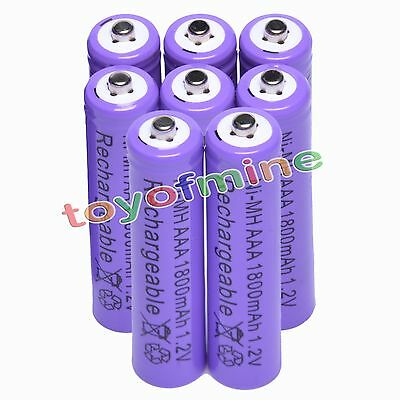 8 AAA 1800mAH Ni-MH Recycle Rechargeable Battery Purple