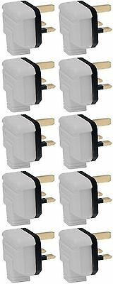 13 Amp Plug Tops Heavy Duty Permaplug Hard Rubber 13A 3 Pin White - Pack of 10