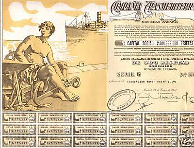 HUGE STUNNING MINT ANTIQUE SPANISH MARITIME BOND w COUPS, NUDE MALE/SHIP cv $200