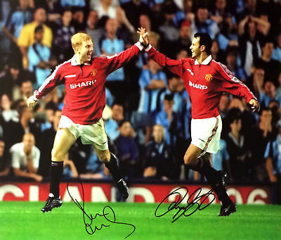 """Giggs &  Scholes Dual Signed 16""""X20"""" Manchester United Football Photo Proof Coa"""
