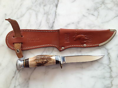 IDEAL SOLINGEN GERMANY FIXED BLADE HUNTING KNIFE W IDEAL SHEATH OLD FISHING