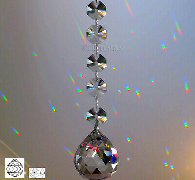 Hanging crystal ball with swarovski octagons Sun catcher feng shui rainbow maker