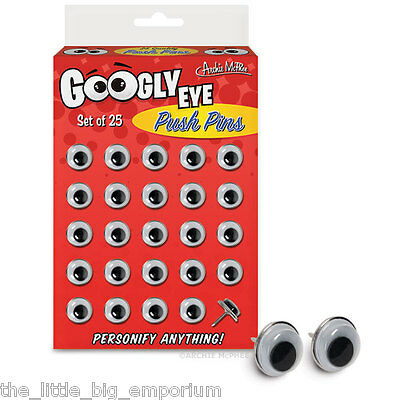 Googly Eye Push Pins By Archee McPhee  - Pack of 25 Thumb Tacks  11 mm diameter
