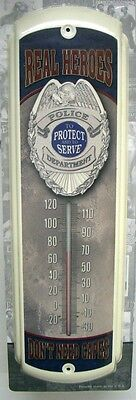 """NEW POLICE - REAL HEROES DON'T NEED CAPES METAL THERMOMETER 17"""" x 5""""  FREE SHIP*"""
