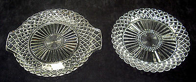 """2 pieces of Anchor-Hocking """"Waterford"""" pattern depression glass"""