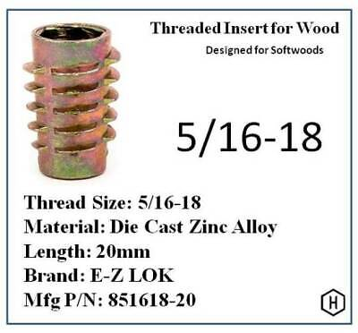E-Z LOK 5/16-18 Die Cast Zinc Alloy Hex-Drive Threaded Insert for Wood (10 Pcs)