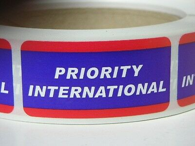 PRIORITY INTERNATIONAL USPS 1x2 Stickers Labels Mailing Shipping 250/rl