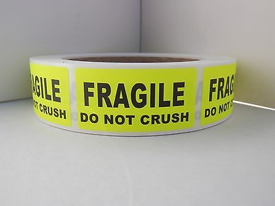 FRAGILE DO NOT CRUSH 1x2 chartreuse fluorescent  Stickers Labels 500/rl