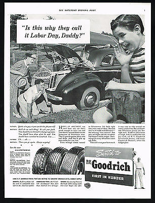 1941 BF Goodrich Tires Father Changing Flat Mother Son Labor Day Print Ad