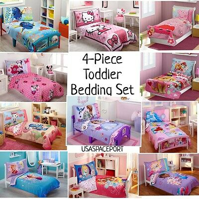 4pc Girls Toddler Bedding Set Comforter Sheets Childs Bed