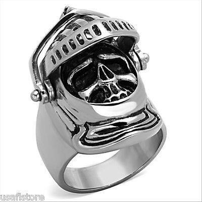 Mens Medieval Knight Silver Stainless Steel Ring