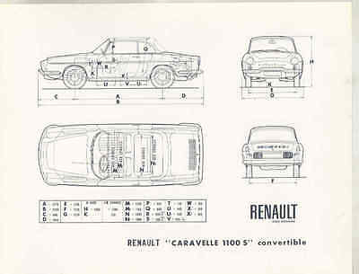 1966 Renault Caravelle 1100S Convertible Brochure French wu0592